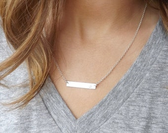 Bar Necklace, Silver bar necklace, Personalized Bar Necklace,Sterling Silver initial Bar Necklace, Bar Jewelry, Handstamped jewelry, Bar