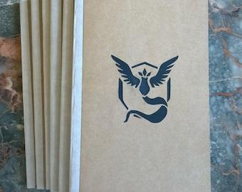 Minimalist Handbound Kraft Notebook: Team Mystic Cut-out Cover -  for journaling notetaking sketching