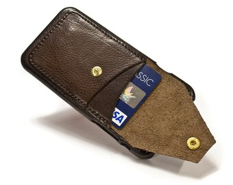 """iPhone 6 4.7"""" leather credit card case 2 slots vertical plus a FLAP choose colour of BODY and ACCENT"""