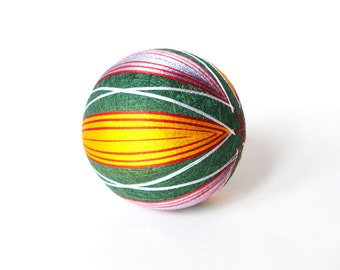 VINTAGE Beautiful Temari Ball , Embroidering Thread Ball , Japanese Art Ball , Modern Geometric Design , Multicolored , Hand Crafted , Gift