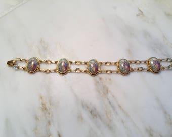 Vintage Van Dell gold filled limoges porcelain bracelet