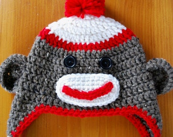 Sock Monkey Hat, Monkey Hat, Sock Monkey Hat Crochet, Sock Monkey Earflap Hat, Animal Hat, Character Hat, Baby Gift, Shower Gift, Childs Hat