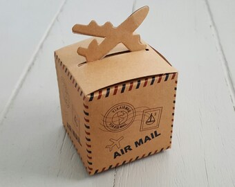10 Airplane Kraft Boxes Airmail 6x6x6cm