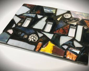 Black, White, Grey, Silver, and Copper - STAINED GLASS MOSAIC Light Switch Cover - single, double, triple, outlet, or decora gfci - custom