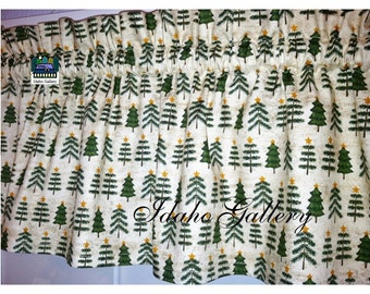 Christmas Curtain Green Pine Trees Curtain Kitchen Curtain Holiday Valance Christmas Decor Cabin Decor Valance Tan Green Gold Free Shipping