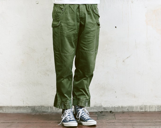 Mens Army Cargo Pants . Vintage Military Style Work Trousers Khaki Pants 80s Army Trousers Mens Cargo Pants Vintage Army Pants . size Small
