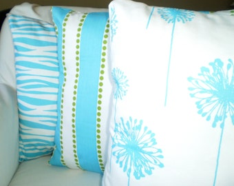 Aqua Pillow Covers, Decorative Throw Pillows, Cushion Covers, Aqua Girly Blue White Stripe Pillow Couch Bed, Set of Three Various Sizes