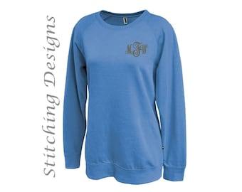 Monogram sweatshirt, Monogrammed sweatshirt, Tunic Sweatshirt, Long sweatshirt, Leggings sweatshirt, crewneck sweatshirt, Women's sweatshirt