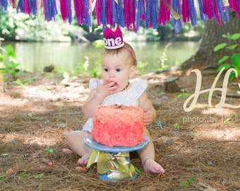 Baby First Birthday Crown ||  1st Birthday Crown || Birthday Party Hat || First Birthday Party Hat || Magenta + White Glitter Crown