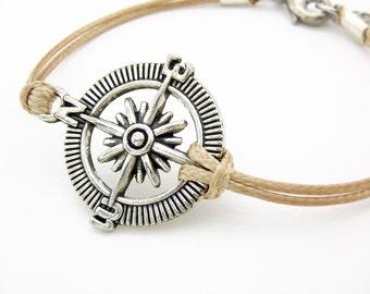 Compass Bracelet, Champagne Cord Bracelet, Waxed Cord Bracelet, Wanderlust Bracelet, Nautical Bracelet