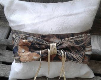 Ivory and Camo Ring Bearer Pillow, Wedding Ring Pillow