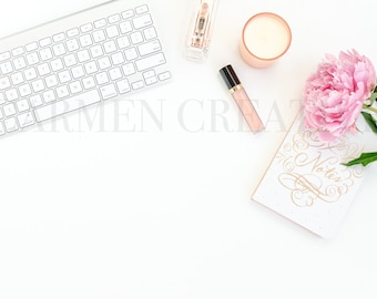 Pink Peony Styled Stock Photography, Desktop Stock Photography / Social Media Graphic