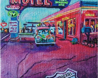Middle of a memory - original miniature art of Blue Swallow Motel in New Mexico