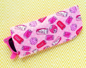 Pink Eyeglass Cases Sunglasses Case Sleeve Soft Lightweight Reading Glasses Cover Pink Love Soda Pop Case Soft Holder Pouch