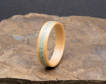 Maple bentwood ring with a howlite inlay. For him or her.