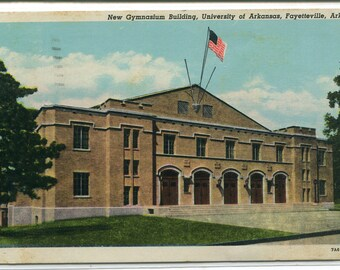 Gymnasium University of Arkansas Fayetteville AR 1946 postcard