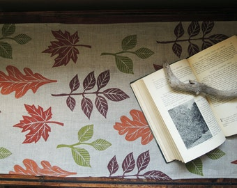 Autumn leaves woodland home fall decor hand block printed natural gray brown linen table runner