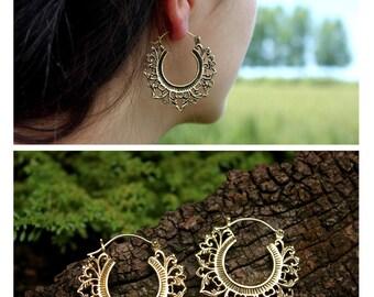 Tribal Lotus Flower Hoop Earrings