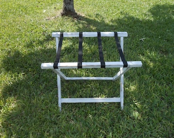 Wood Luggage Rack- White Distressed Luggage Rack - Suitcase/Tray Stand -Guest Room Organizer-Unique Nightstand-End Table -Suitcase Holder
