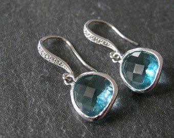 Aquamarine Cubic Zirconia Glass Earrings, Drop, Dangle, Bridesmaids Gifts, Bridal Jewelry, Gift for Her