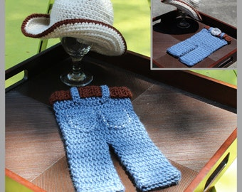 "Cowboy Hat & ""Blue Jeans"" Crochet Pattern ... Newborn ... Photo Prop ... Instant Download"