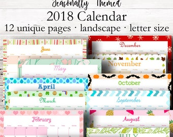 Monthly Printable Calendar 2018, Monthly Planner 2018, Wall Calendar, Horizontal Desk Calendar Printables, Letter Size, Instant Download