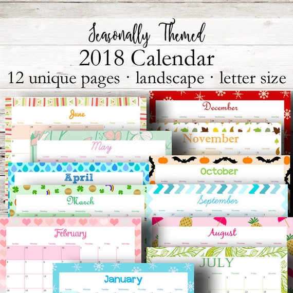 Monthly printable calendar 2018 monthly planner 2018 wall calendar horizontal desk calendar printables letter size instant download