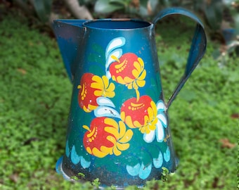 Vintage Hand Painted Flower Pitcher Watering Can Flowers Garden Colorful Blue, Red, Yellow