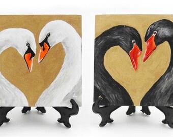 Swan Couple Heart painting - wedding anniversary bird painting - white swan - black swan - love art miniature painting - mini art