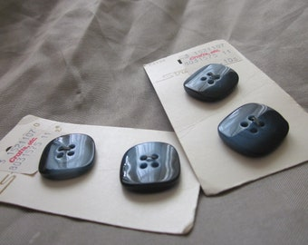 4 Swirled Royal Blue Square Buttons Streamline made in Italy