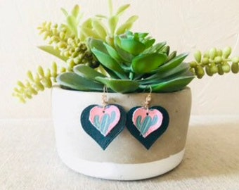 I heart Cacti:  Layered Leather Heart Earrings.