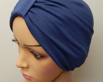 Chemotherapy turban hat, blue cancer head wear, hair loss hat, chemo cap, full head covering, alopecia hat, chemo treatment head wear
