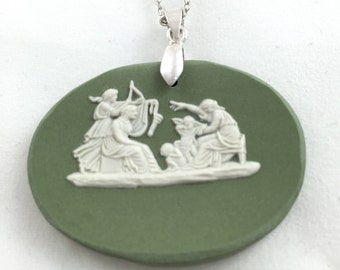 Broken China jewelry Green wedgwood oval pendent