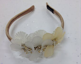 Handmade by me Vintage Style Flowers velvet covered headband Light Taupe Gold and Opaque embellished band wedding