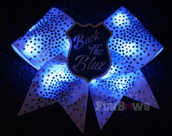 Awesome LED Back the blue Police Cheer rhinestone Glo bow - FunBows Original  ! It Lights Up !