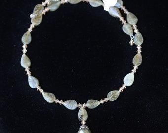 Beautiful Unique Labradorite and Swarovski Crystal Choker Necklace
