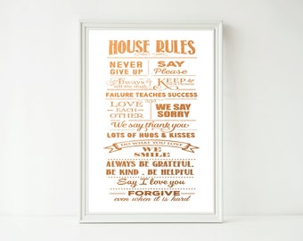 Real Foil Print - House Home Family Rules Poster Prints, Home Decor Wall Art, Gold, Gopper, Silver