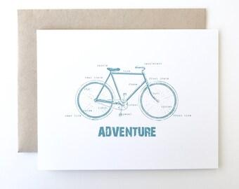 Bike Card. Bicycle Card. Labeled Bike Card. Hipster Card. I love my bike card.