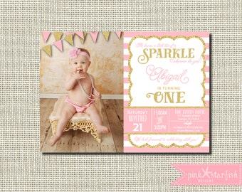 Sparkle Birthday Invitation, Pink and Gold Birthday, Pink and Gold Invitation, Pink and Gold, Glitter, First Birthday Invitation, Sparkle