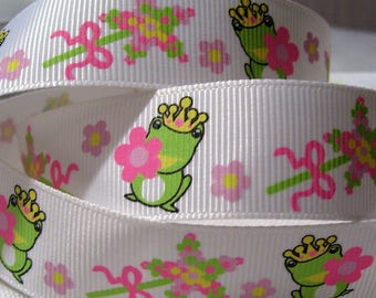 Printed grosgrain Ribbon * 22 mm * frog Princess wand - sold by the yard