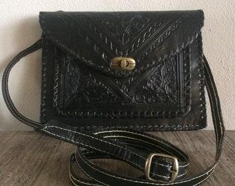 Handmade bag genuine leather, Moroccan leather handbag, Vintage women bag, Leather crossbody bag, Boho chic bag leather black lady