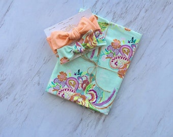 Floral swaddle set Soft baby blanket Pretty blanket for girl Blanket with bows Floral baby swaddle set for newborn Receiving blanket