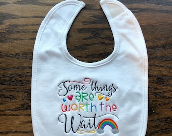 Rainbow baby bib, worth the wait bib, rainbow, post miscarriage