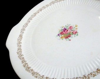 Vintage Cake Plate Wedding Plate China Floral Rose Basket National Brotherhood of Operative Potters 22k Gold