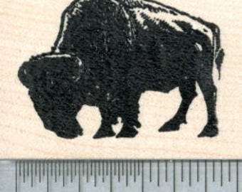 Bison Rubber Stamp, American Buffalo in Silhouette G32816 Wood Mounted