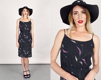 60s Black Flower Dress Vintage Floral Print Spaghetti Strap Chiffon Day Dress