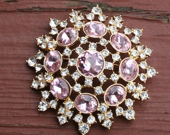 Monet Brooch Pin Pink Diamonds Costume Jewelry
