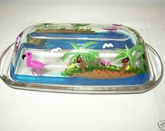 Hand Painted BUTTER DISH With FLAMINGOS