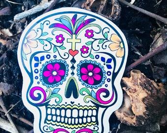 Deos de Los Muertos Day of the Dead Sugar Skull Flower Color Art Handmade Vinyl Ink Magnet Decor