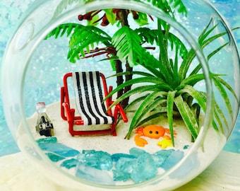 Beach Vacation Terrarium Kit ~ Small Air Plant Terrarium Kit ~ Coastal Beach Living Home Decor ~ Beach Chair +Palm Tree ~ Beach Decor ~ Gift